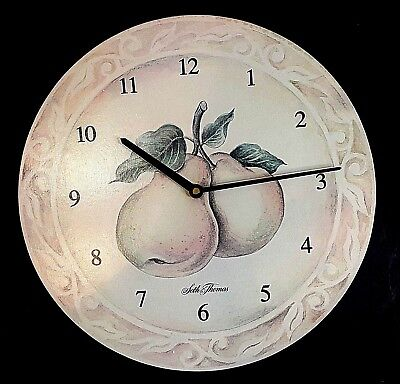 "SETH THOMAS PEAR THEME WALL CLOCK 13.5"" IN DIAMETER Must See!"