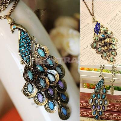 Hot Vintage Bronze Style Peacock Blue/Green Crystal Chain Pendant Necklace FU