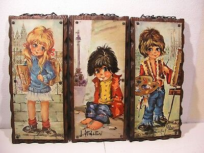 3 Michel T. Thomas Bild Big Eyes Kinder Paris 60Er Alice Bilder Flower Power Art