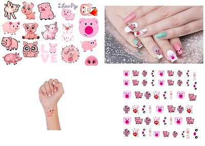 Pig  Collection Nail Art -  Temporary Tattoo Tattoos