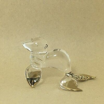 Sea Lion Miniature Animal Hand Blown Glass Figurine Gold Trim Painted