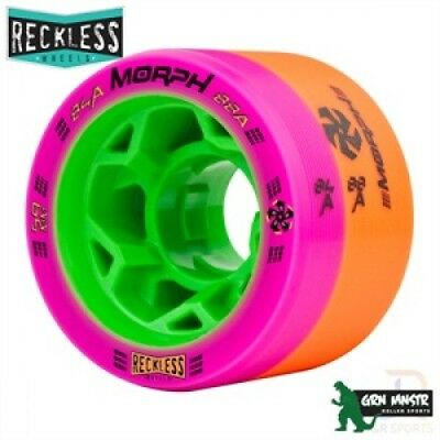 Reckless Morph Quad Skate Wheels Dual Durometer 59mm Orange/Pink 84A/88A