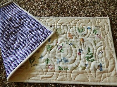 Summer Sale Table runner quilted made with Longaberger Botanical fields fabric