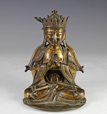 Antique Chinese Ming Dynasty Gilt Bronze Statue Of Seated Buddha