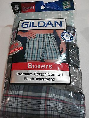 Gildan Men's Boxers 5 Pack NEW Size XL 40-42 Premium Cotton Comfort Plaid