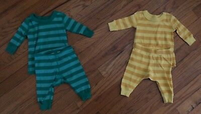 HANNA ANDERSSON Striped Long John Pajamas In Organic Cotton Size 50 0-6m LOT
