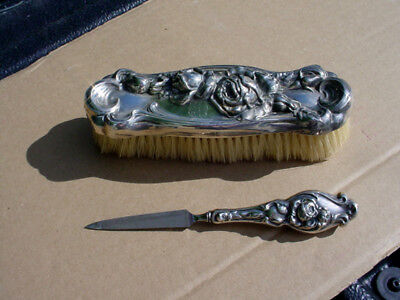 Victorian Sterling Rose Decorated Nail File & Brush