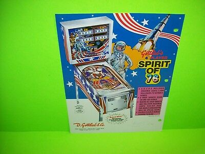 Gottlieb SPIRIT OF 76 Original Pinball Machine Promo Flyer Patriotic Theme Art
