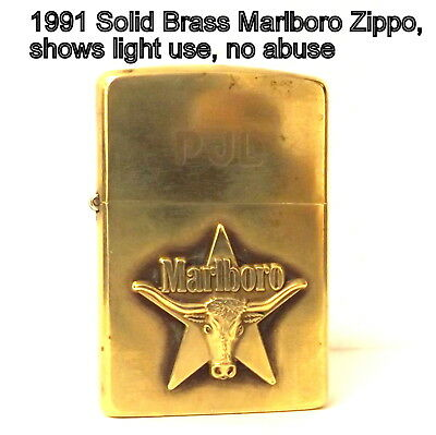1991 Zippo, solid brass Marlboro,shows very light use, but still great condition
