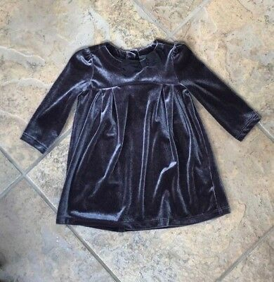 Baby Gap Girls EUC 6-12 months Gray silver shimmer velour holiday dress !!