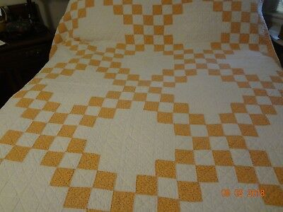"Sweet Double Irish Chain Quilt/Hand Quilted/Nice Condition/87""x64"""