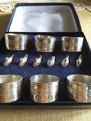 Vintage Silver Plated Napkin Rings & Swan Shaped Name Card Holders in Box