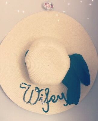 Personalised Beach Hat Wedding Bride To Be Wifey Bridesmaid Hen Party Pool Party