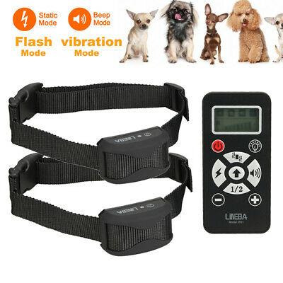 400 Yard Range Rechargeable LCD Vibrate Shock 4 Modes 2 Pet Dog Training Collar