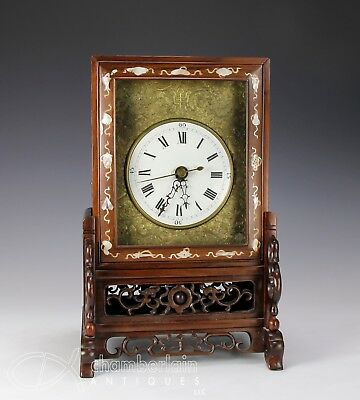 Old Chinese Wood Cased Mantle Clock With Enameled Dial