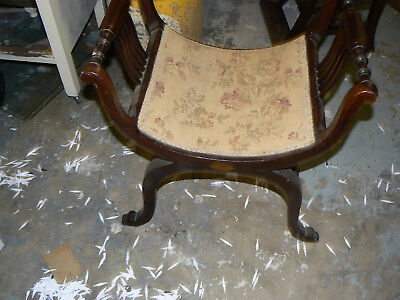 Solid Antique  Solid Mahogany Inlaid Bow Chair Dressing Table Piano Stool