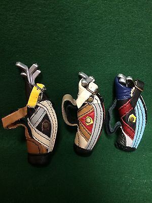 CD Miniature Leather golf bags w 4 clubs VARIOUS COLORS Dollhouse diorama mini