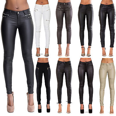 be2ea56222f56 Women Leather Look Leggings Trousers Black Wet Look Jeans Size 6 8 10 12 14  16