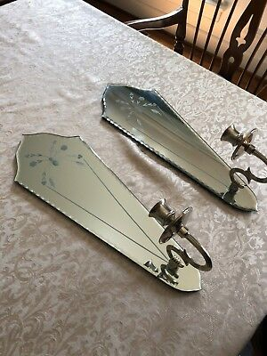 Set of 2 mirrored sconces. Silver-trimmed, mirror, taper-candle sconce set.