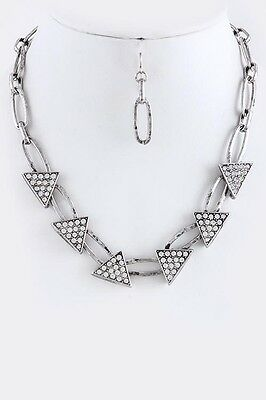 Antique Silver Tone Pave Triangle Link Necklace and Earring Set