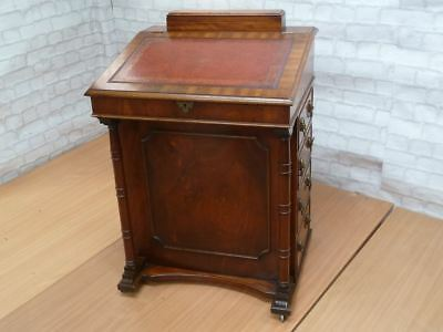 Mahogany Davenport with Red Leather Writing Slope Pen Box and 4 Side Drawers