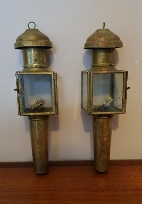 Victorian Antique Pair of Horse Drawn Carriage Coach Lamps