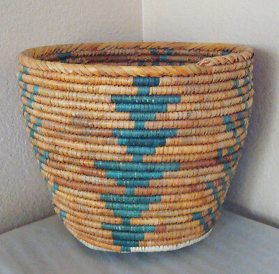 "Vintage Tightly Hand Woven Native Tribal African Coiled Basket Bowl Jar 10""large"