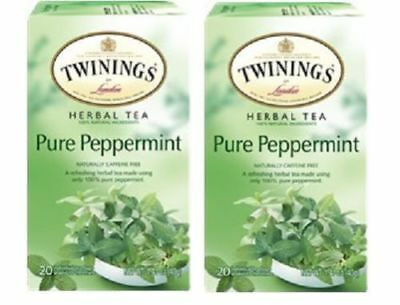Twinings Pure Peppermint Herbal Tea Caffeine Free 1.41 Ounce Box 20 Count 2 Pack