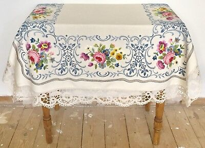 Vintage Heavily Hand Embroidered Linen Table Cloth With Lace Trim