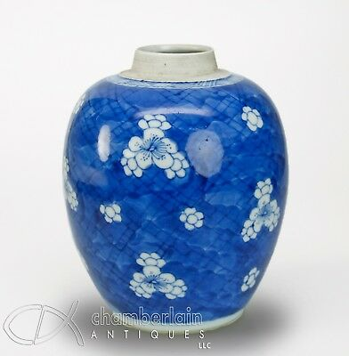 Antique Chinese Blue And White Porcelain Prunus Jar - Kangxi Period