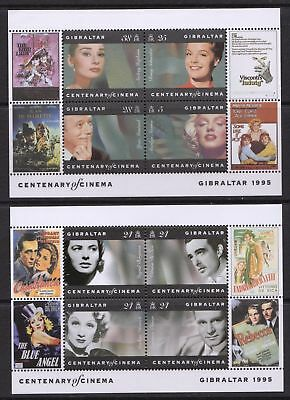 Gibraltar 1995 Centenary of Cinema - Two MNH Mini Sheets - Cat £3.50 - (60)