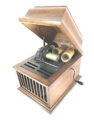 Antique Edison Crank Phonograph With 50 Cylinders Oak