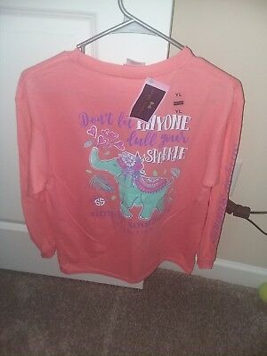 NWT Simply Southern Long Sleeve T Shirt Youth Large L Sparkle Elephant Glitter