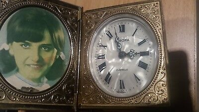 Vintage  Book Style Travel Clock Europa Germany. 2 Jewels Mother of Pearl dial.