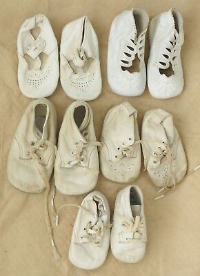 Vintage White Leather Baby Shoes