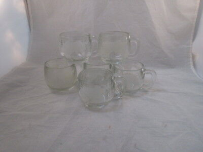 Vintage 1970's Nestle Nescafe Clear Glass Globe World Coffee Mug Set of 6