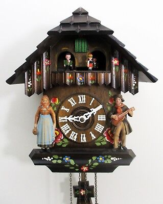 Vintage Hubert Herr/Cuendet Chalet Style Weight Driven Musical Cuckoo Clock