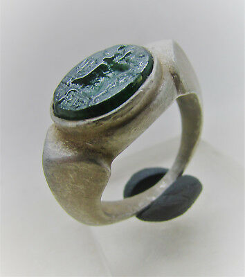 Scarce Roman Silver Intaglio Ring With Green Glass Insert