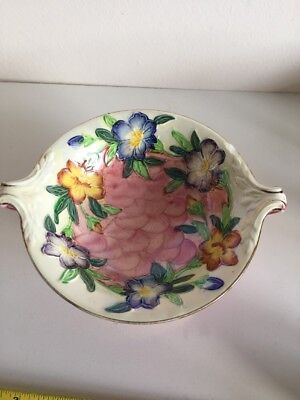Maling Lustre Footed Lustre Bowl Pink With Flowers
