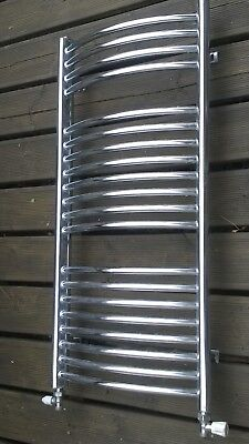 Towel Rail Radiator Used Chrome Bow Front with valves For Bathroom Heating