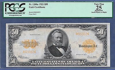 """1922 $50  FR-1200a  SMALL S/N ♚♚GOLD-CERTIFICATE♚♚ PCGS VF 25   ONLY """"22"""" KNOWN"""