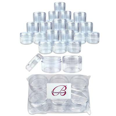 24 Pieces Beauticom 30G/30ML Clear Plastic Refillable Jars with Clear Round Lids