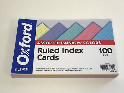 """Oxford Ruled Color Cards, 5"""" x 8"""", Assorted Colors, 100 Per Pack (35810)"""