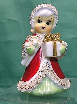 Christmas LEFTON Ceramic Japan spaghetti trim Girl Figurine w/ gifts BELL