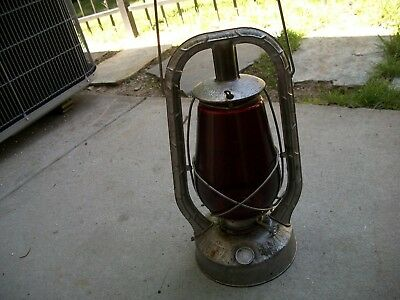 Antique Vintage RARE Nice Dietz Monarch Lantern W/Red Glass Globe 1920s Cirea.