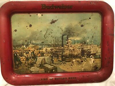 BUDWEISER Vintage Beer Tray St Louis 1870's Antique Copyright 1917