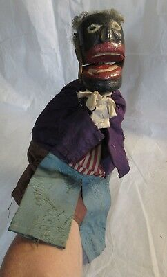 Antique Folk Art Puppet Black Americana Face Hand Painted Very Old Wood RARE