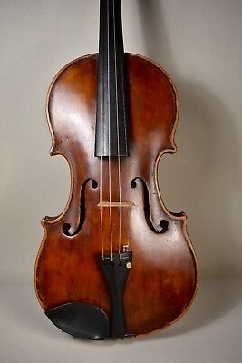 antique Salzard-Paris violin 4/4 fiddle-back maple hand carved w/ old case clean