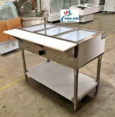 """NEW 44"""" Bain Marie Food Warmer Display Buffet Cafeteria Server 3 Compartment USA"""
