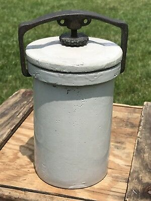 Vintage Pottery Stoneware Canning Crock Jar with Lid with Metal Turn Butter Jar
